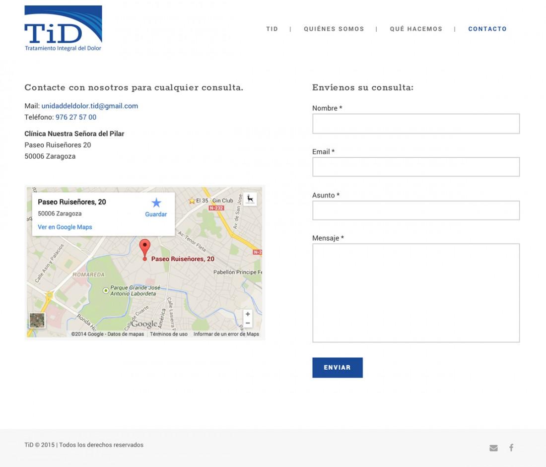 TiD - Tratamiento del dolor - Diseño web