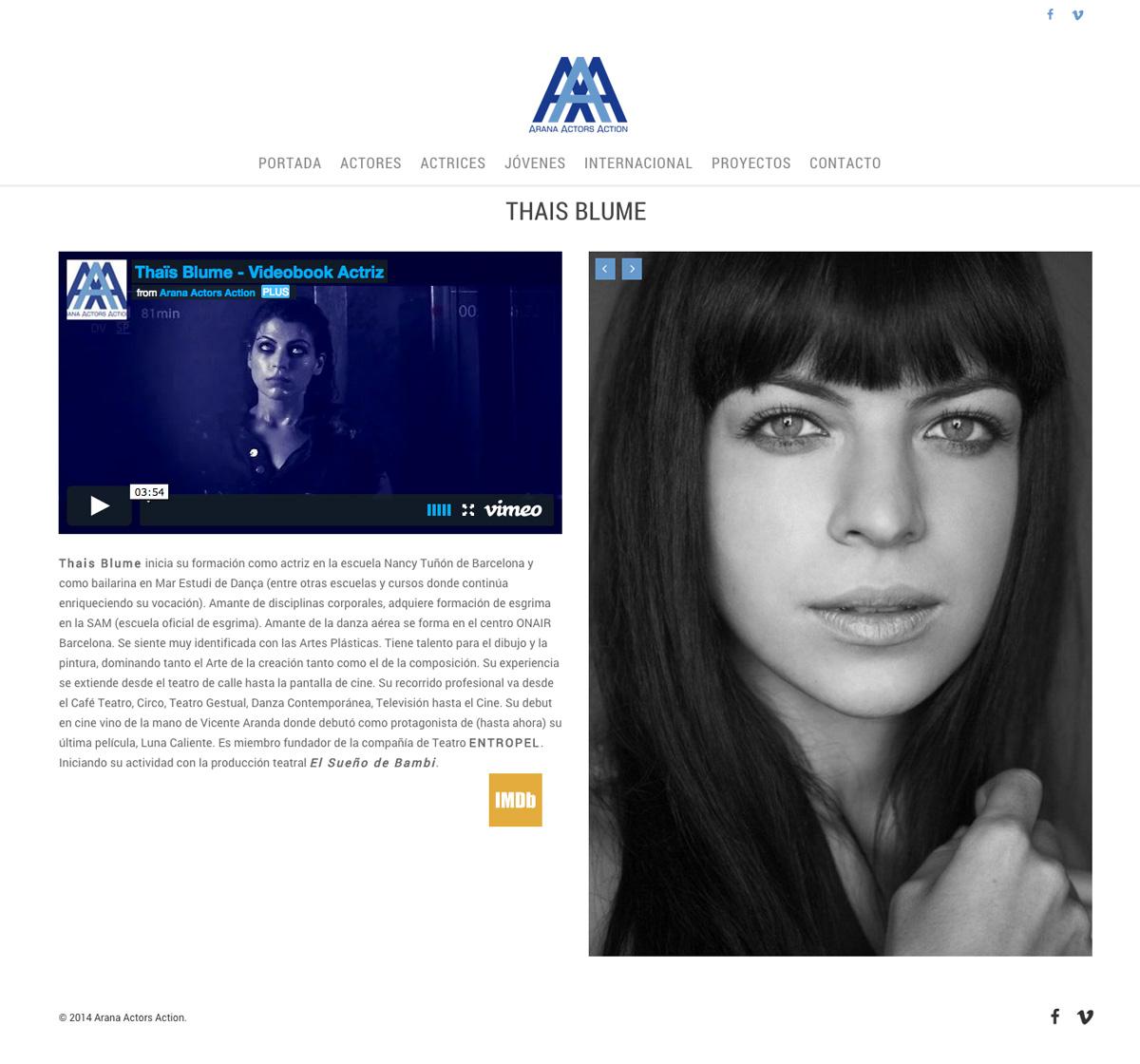 Elisabeth Arana - Representante de Actores - Diseño Web