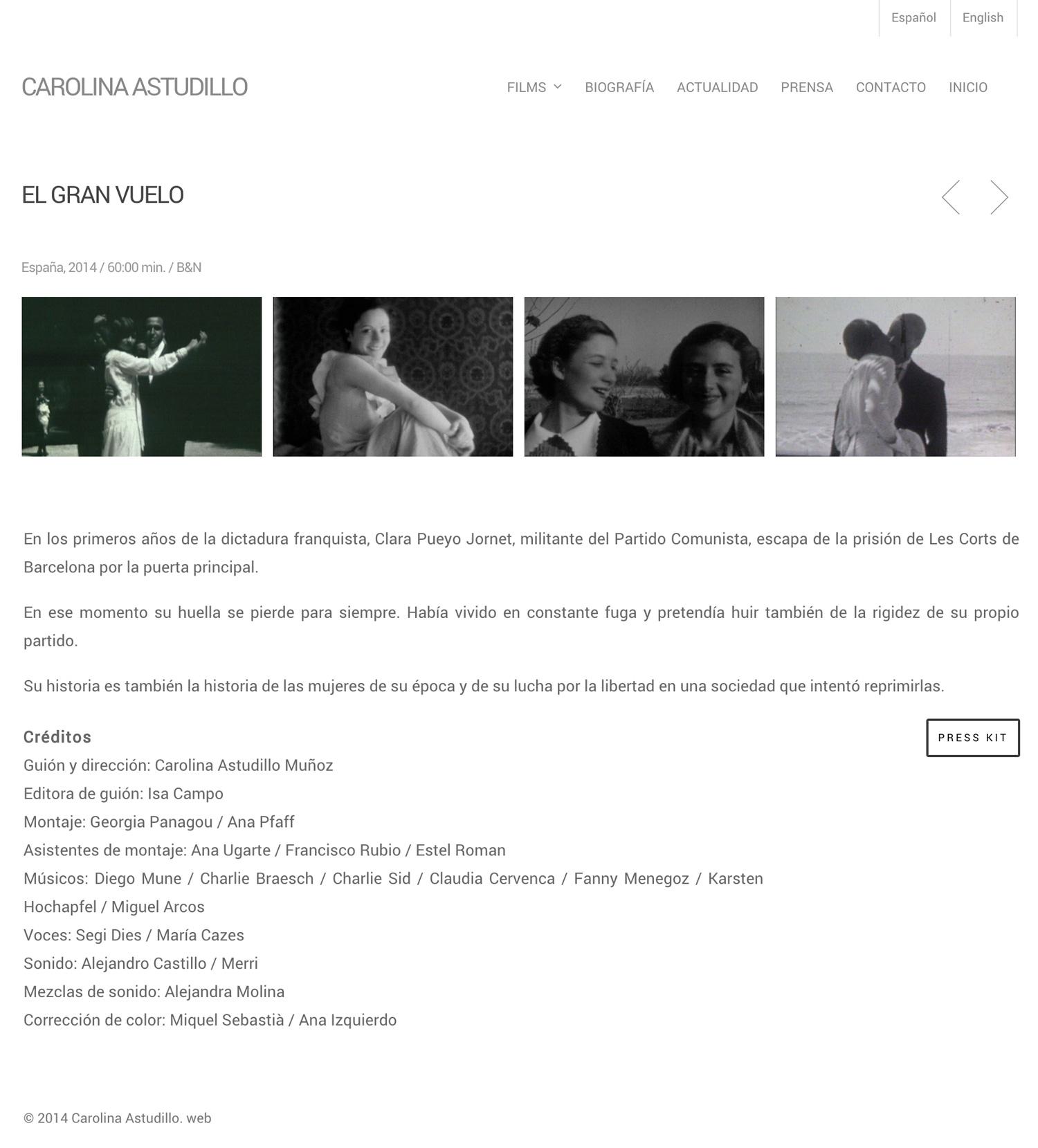 Carolina Astudillo - Filmmaker - Diseño Web