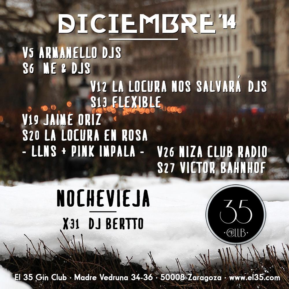 Flyer El 35 Gin Club - Programación Diciembre 2014