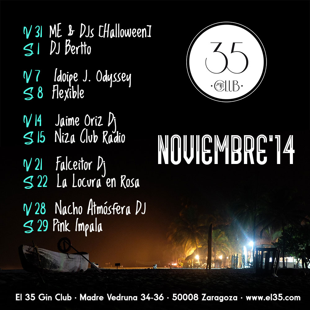 Flyer El 35 Gin Club - Programación Noviembre 2014