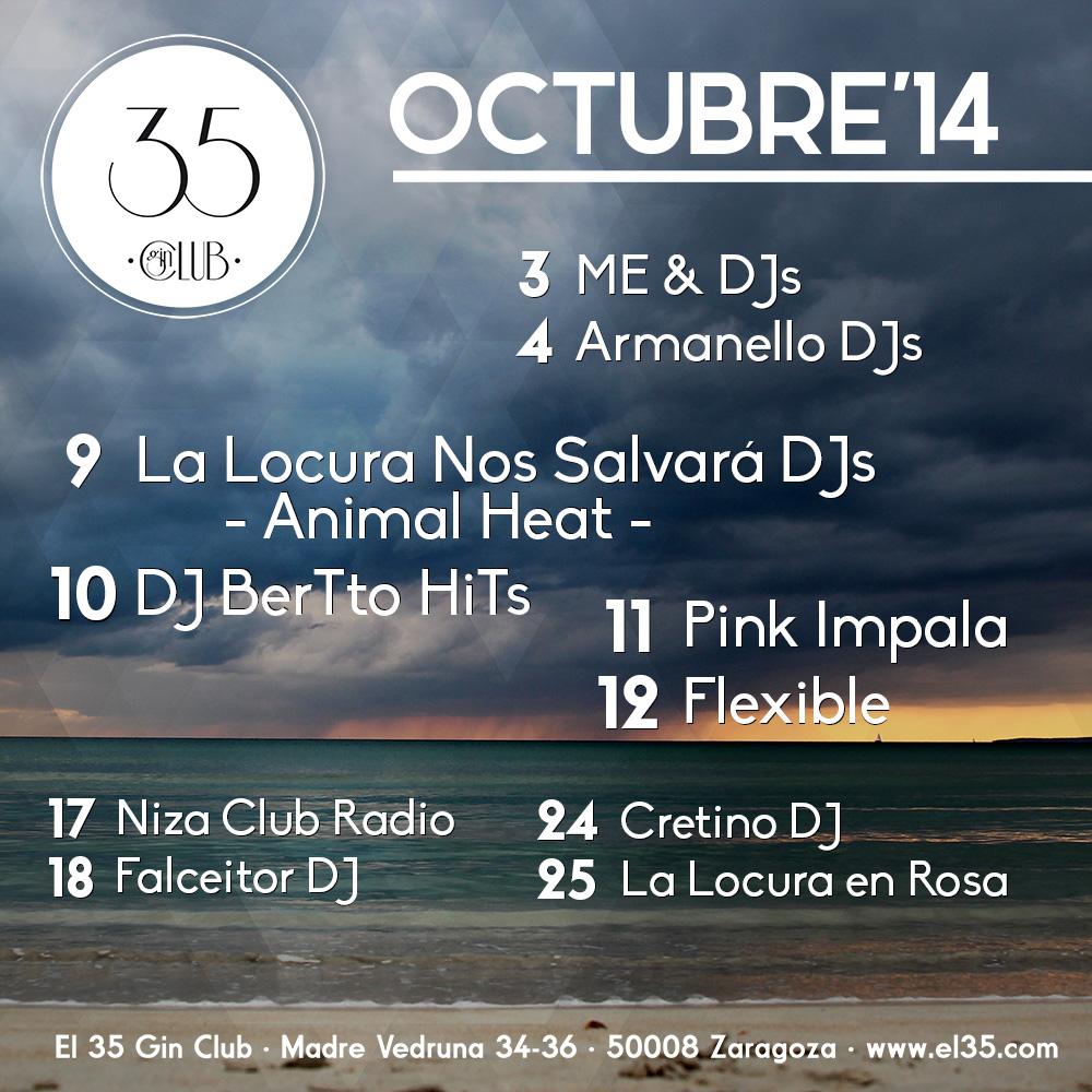 Flyer El 35 Gin Club - Programación Octubre 2014