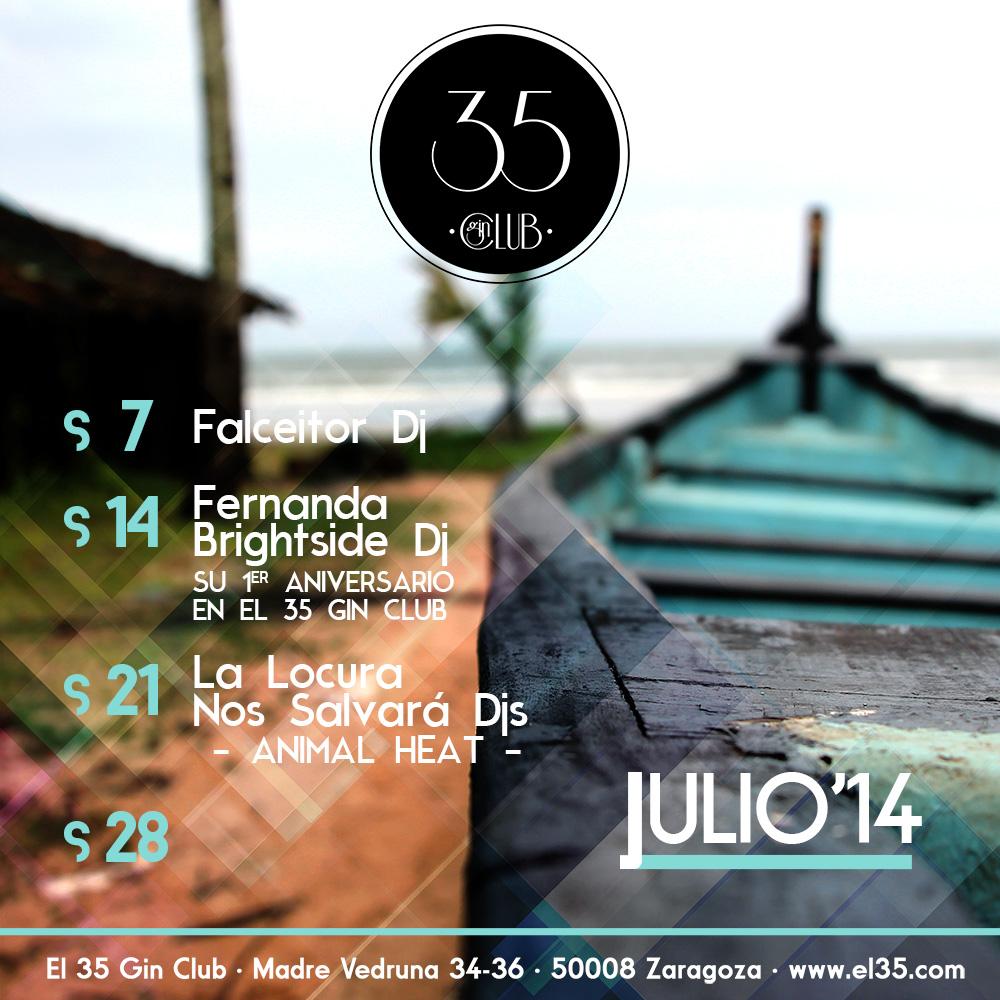 Flyer El 35 Gin Club - Programación Julio 2014