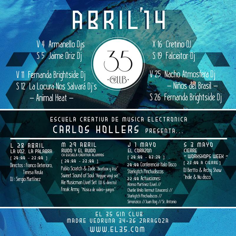 Flyer El 35 Gin Club - Programación Abril 2014