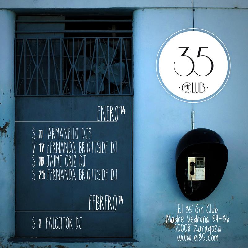 Flyer El 35 Gin Club - Programación Enero 2014