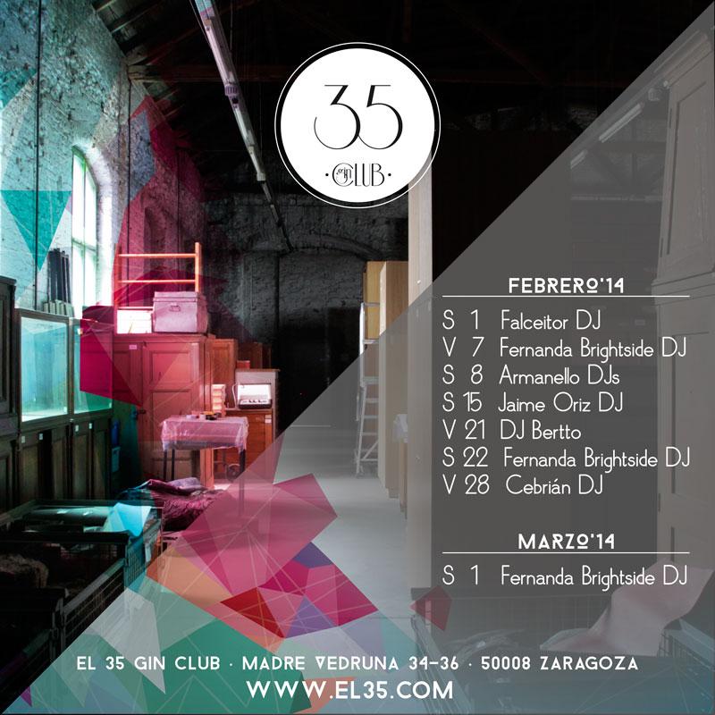 Flyer El 35 Gin Club - Programación Febrero 2014