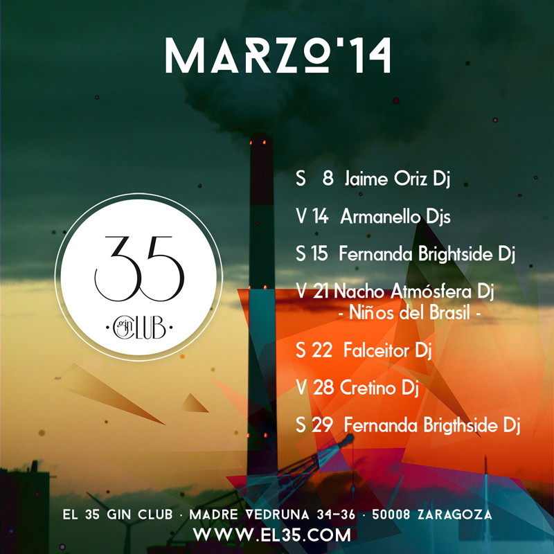Flyer El 35 Gin Club - Programación Marzo 2014