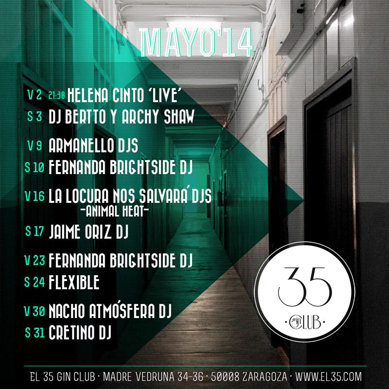 Flyer El 35 Gin Club - Programación Mayo 2014