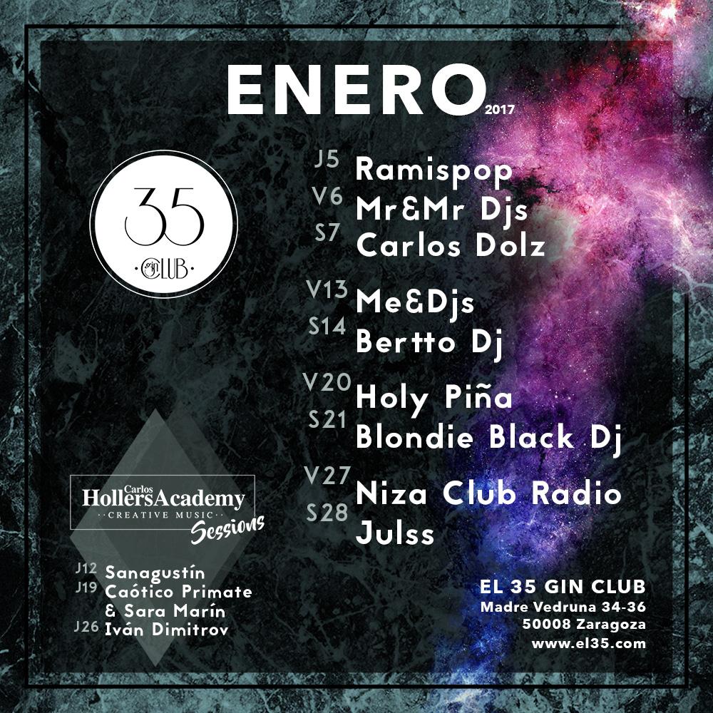 Flyer El 35 Gin Club - Programación Enero 2017