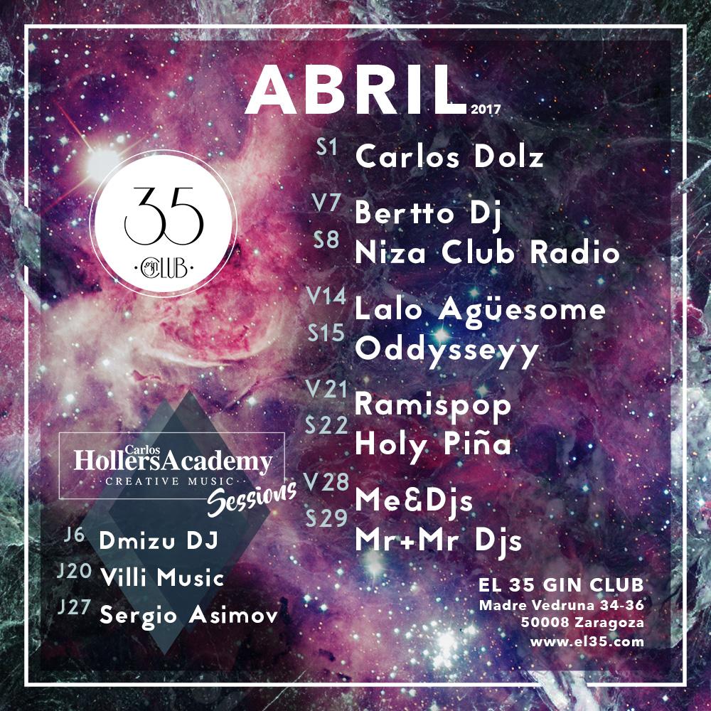 Flyer El 35 Gin Club - Programación Abril 2017