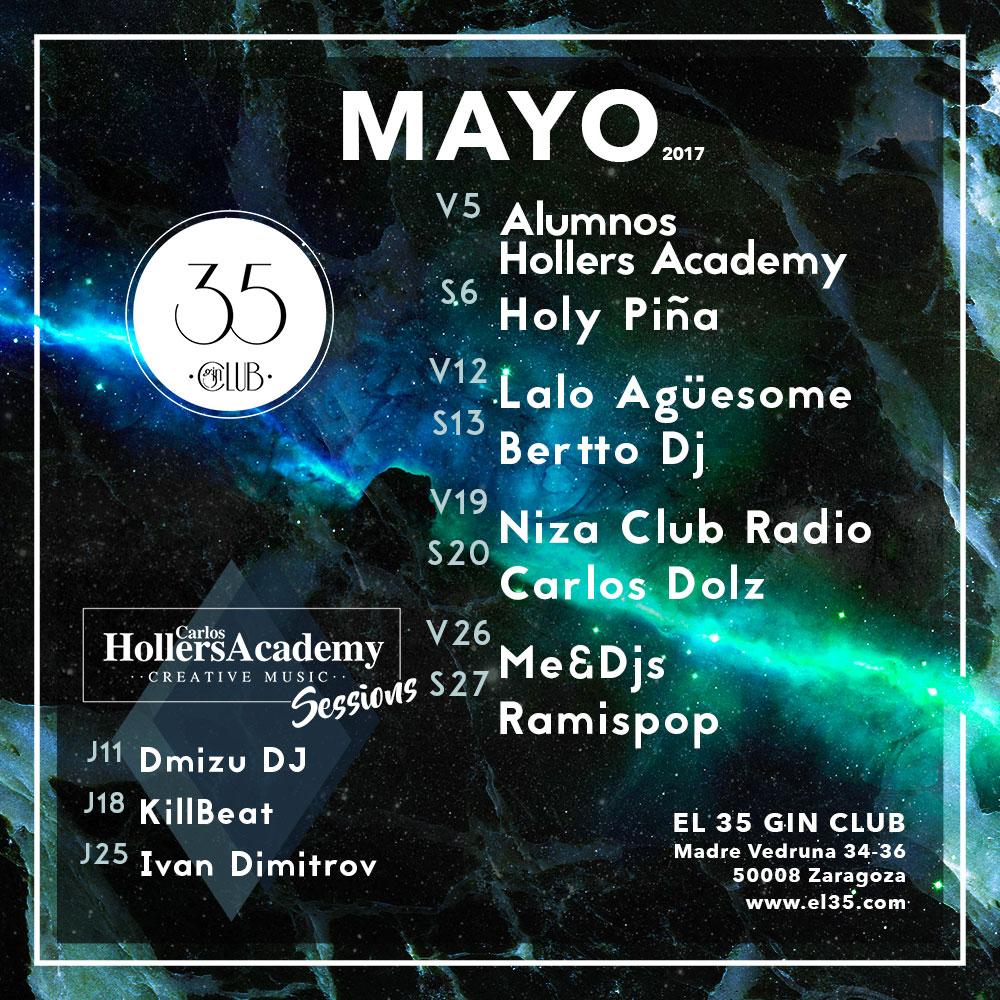 Flyer El 35 Gin Club - Programación Mayo 2017