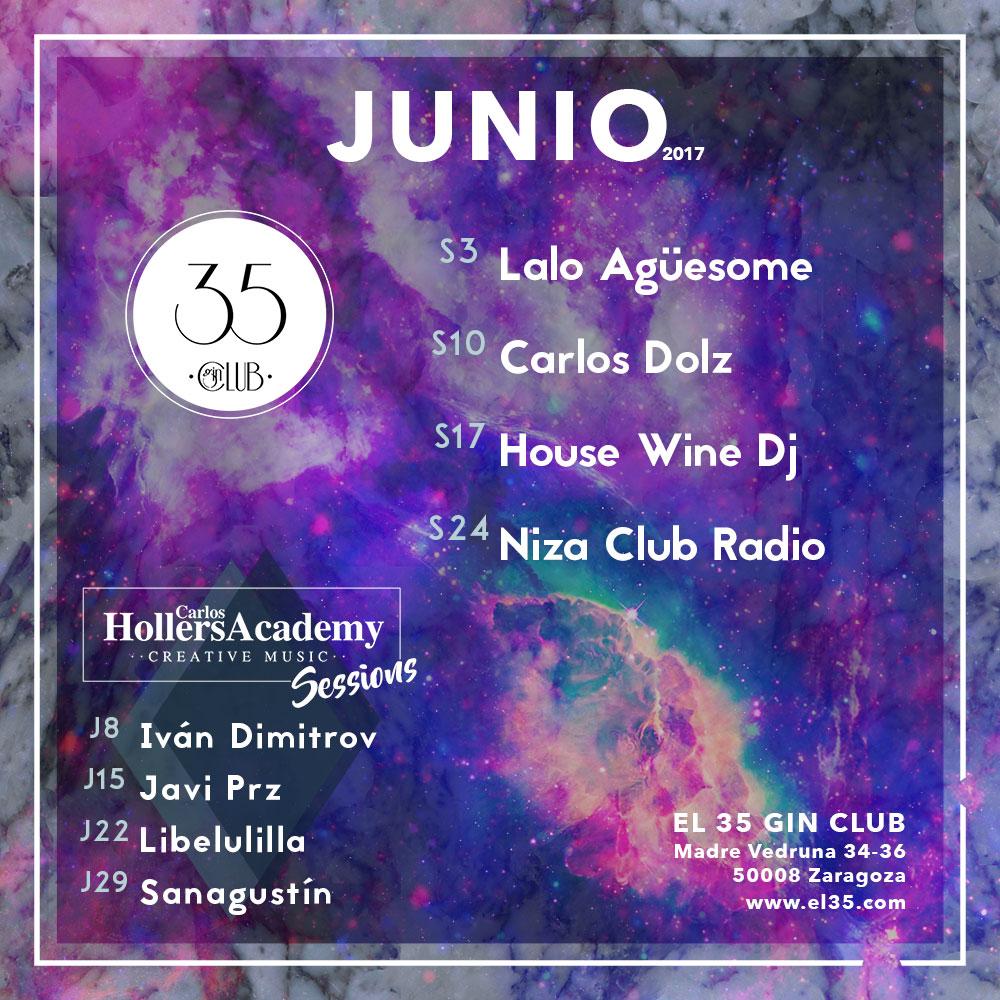 Flyer El 35 Gin Club - Programación Junio 2017