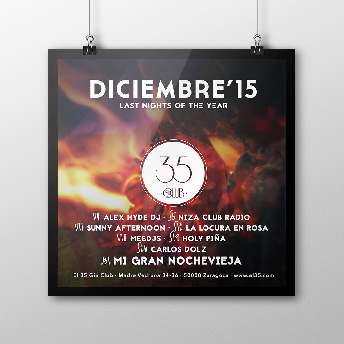 Flyer El 35 Gin Club - Programación Diciembre 2015