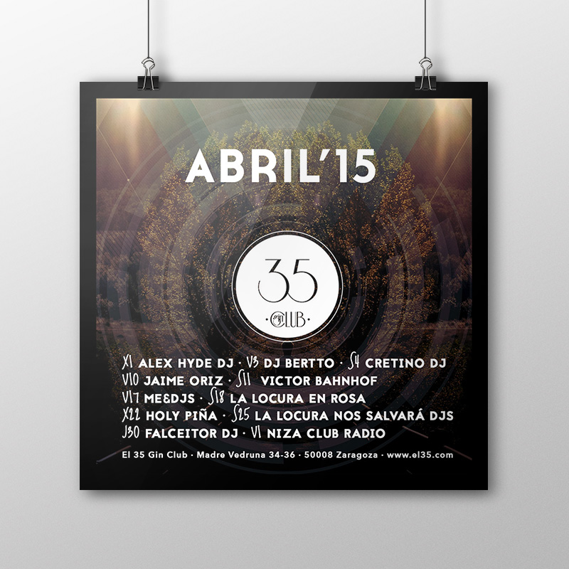 Flyer El 35 Gin Club - Programación Abril 2015