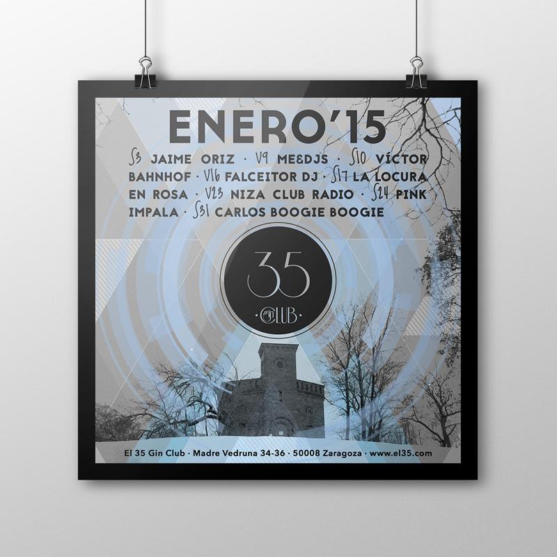 Flyer El 35 Gin Club - Programación Enero 2015