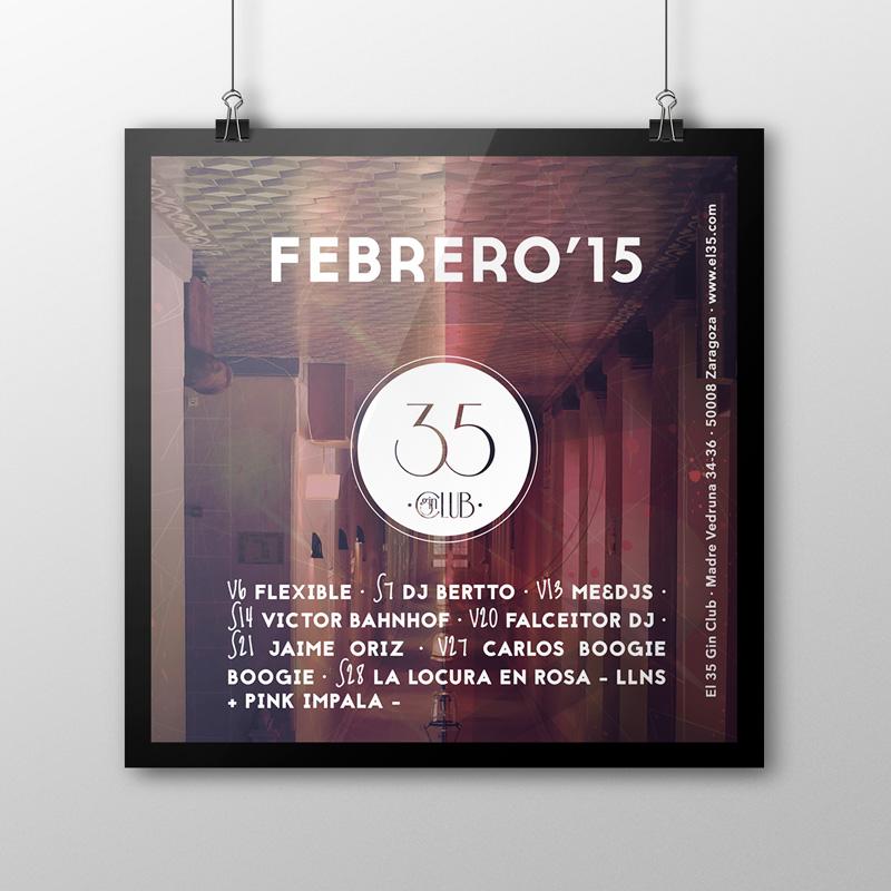 Flyer El 35 Gin Club - Programación Febrero 2015