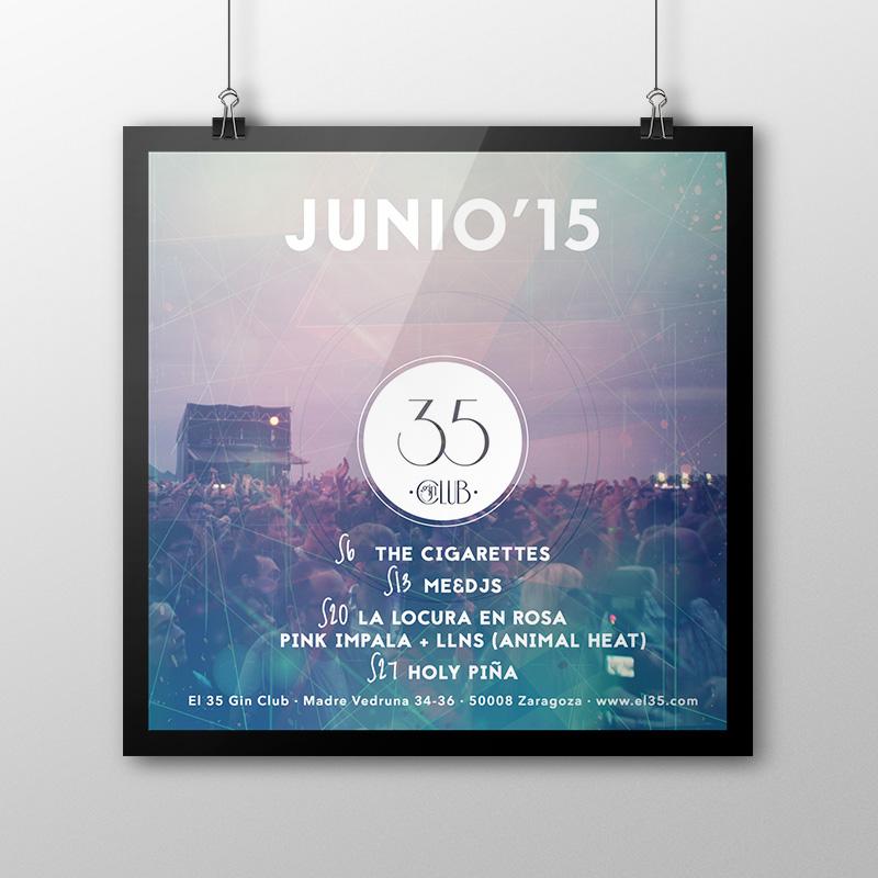 Flyer El 35 Gin Club - Programación Junio 2015