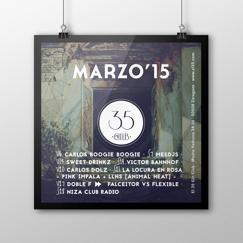 Flyer El 35 Gin Club - Programación Marzo 2015