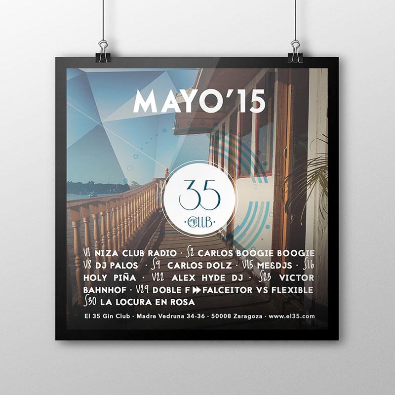 Flyer El 35 Gin Club - Programación Mayo 2015