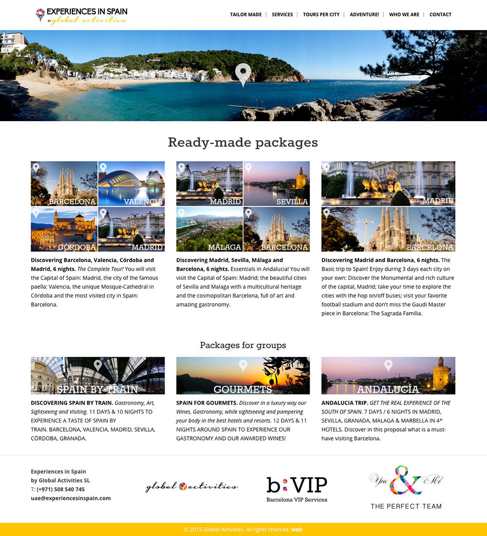 Experiences in Spain - Diseño Web