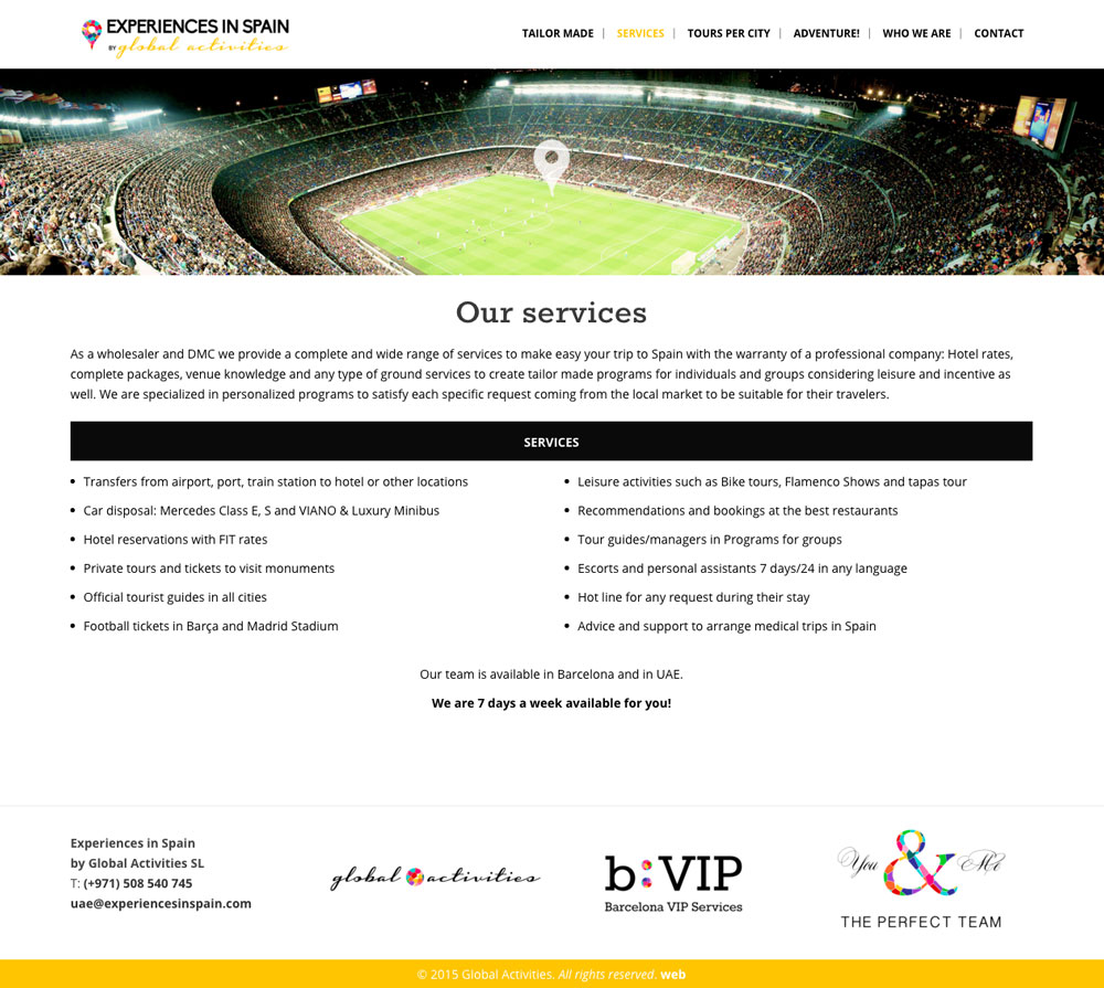 Experiences in Spain - Diseño Web