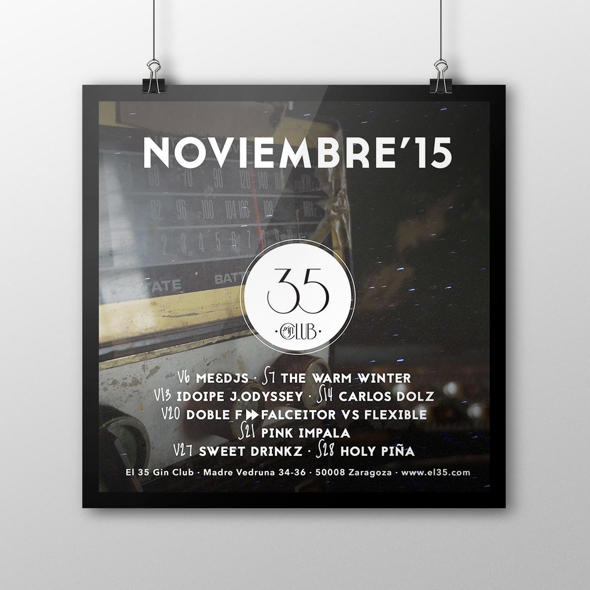 Flyer El 35 Gin Club - Programación Noviembre 2015