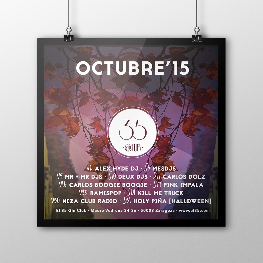 Flyer El 35 Gin Club - Programación Octubre 2015