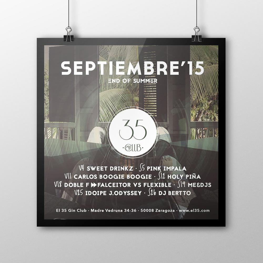 Flyer El 35 Gin Club - Programación Septiembre 2015