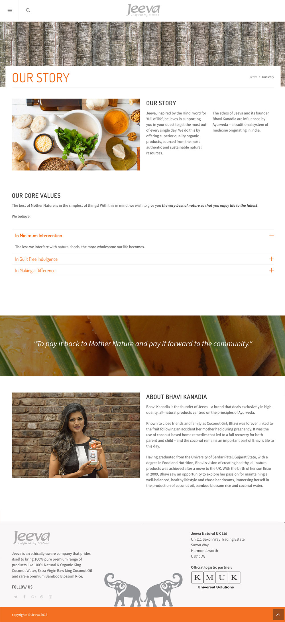 Jeeva - Coconut Water - Website