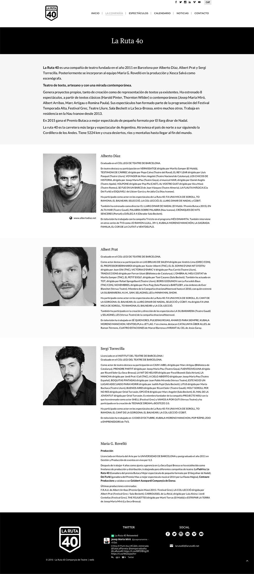 La Ruta 40 - Compañía de teatro - Diseño y programación web
