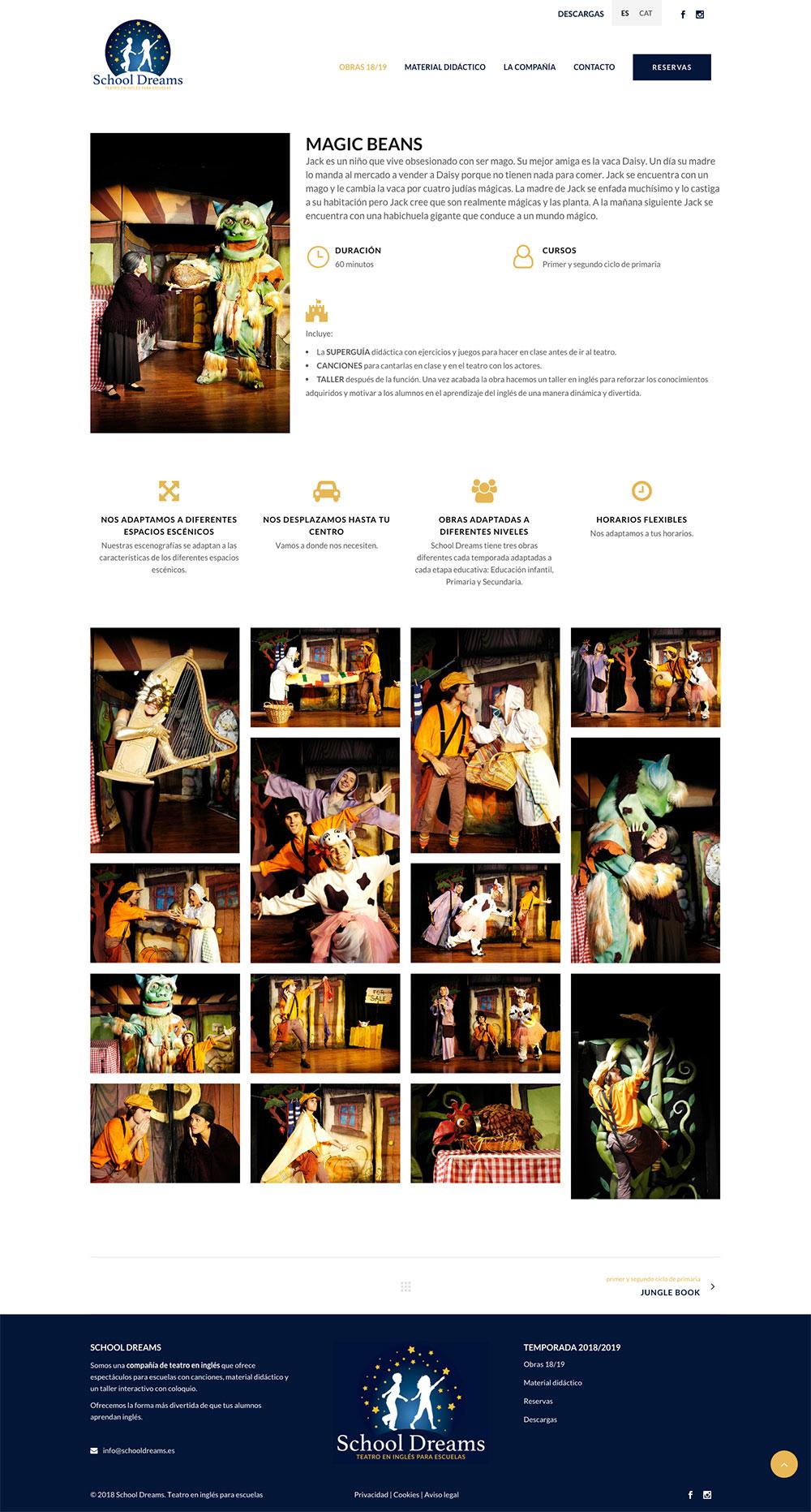 School Dreams ★ Teatro en inglés para escuelas ★ Diseño web