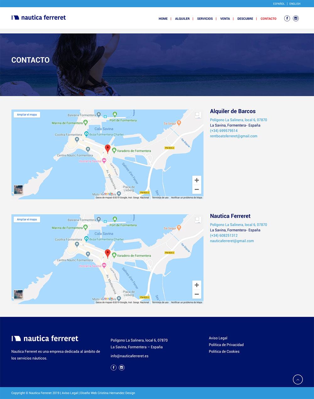 Naútica Ferreret ★ Alquiler y venta de embarcaciones en Formentera ★ Website